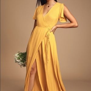 Lulu's Much Obliged Golden Yellow Maxi Dress